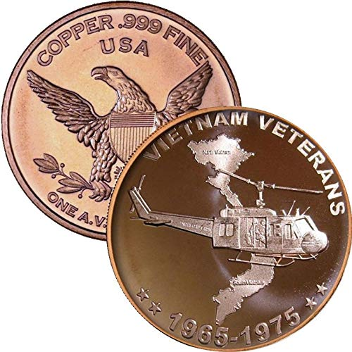 - 1 oz .999 Pure Copper Round/Challenge Coin (Vietnam Veterans)