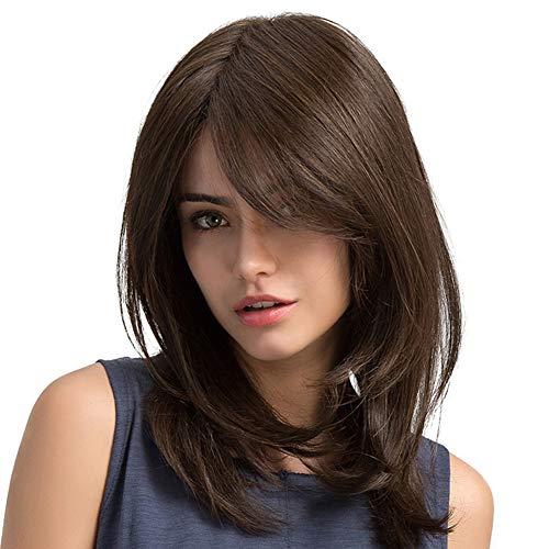 Wavy brown medium length women's wig, Halloween party heat resist costume wigs for masquerade -