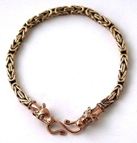 Bronze Norse Viking Mjolnir Thors Hammer Gold Tone 4 mm Byzantine Chain Bracelet Wolf Head Pagan Jewelry