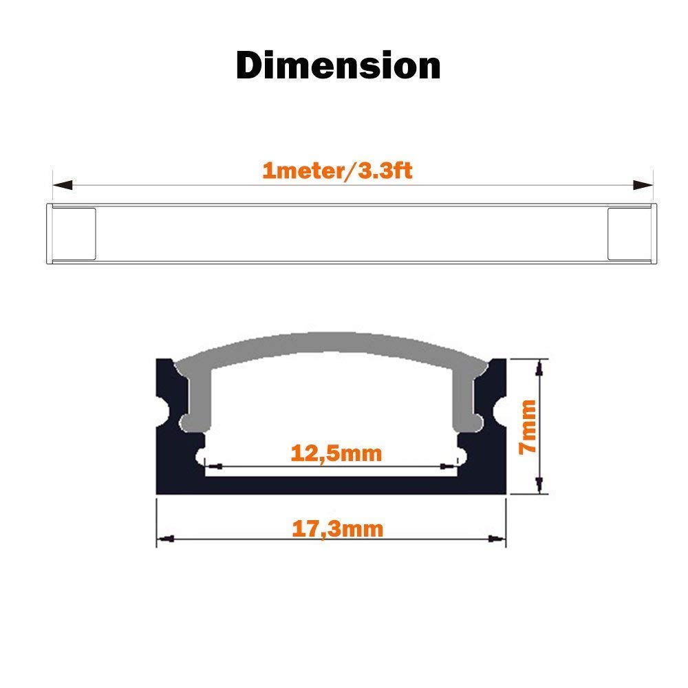 LED Aluminum Channel 40x3.3ft,LED Profile with Cover and Complete Mounting Accessories for Led Strip Light Installation by StarlandLed (Image #3)
