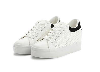 b47ac965885c Platform Canvas Sneakers Wedge Platform Sneakers for Women Hidden Heel Loafers  Canvas Shoes(Black-