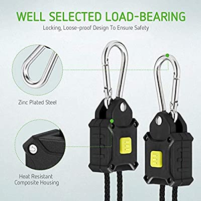 VIVOSUN 2-Pair 1/8 inch Rope Hanger w/Improved Design, More Convenience - Press Button Easy Adjust, Reinforced Metal Internal Gears, 8-ft Long & 150lbs Weight Capacity (Exclusively Patented) : Garden & Outdoor