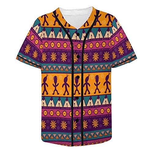 (INTERESTPRINT Men's Ethnic Tribal Colorful Aztec Baseball Jersey Button Down T Shirts M)