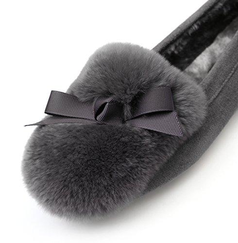 Qzunique Comfortabele Comfortabele Moccasinepantoffels Ronde Neus Platte Instappers Schoenen Met Strikdecor Grijs