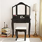 Vanity Dresser with Mirror Tribesigns Wood Makeup Vanity Table Set with 3 Tri Mirror and Stool Bedroom Dressing Table Dresser Desk, Black