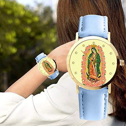 lightclub Christian Virgin Mary Flower Round Dial Faux Leather Strap Women Wristwatch - Black by lightclub (Image #4)