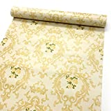 SimpleLife4U Yellow Rose Damask Shelf Drawer Liner Self-Adhesive Contact Paper Refurbished Old Furniture 17.7 Inch By 9.8 Feet