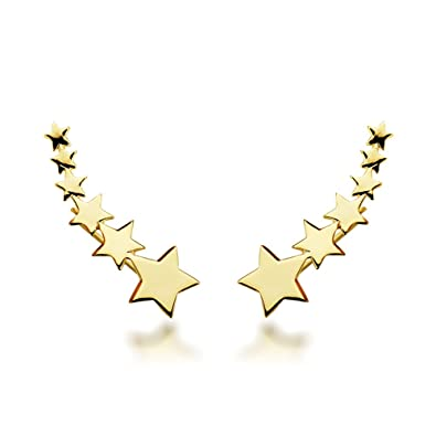 aca9b863bf67 Iyé Biyé Jewels - Pendientes estrellas trepadores mujer plata de ley 925  bañados en oro amarillo  Amazon.es  Joyería
