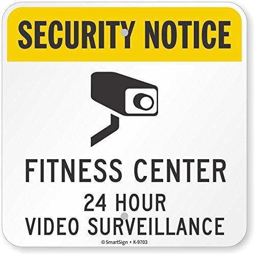 Smartsign K-9703-AL-12x12Fitness Center 24 Hour Video Surveillance Aluminum Sign