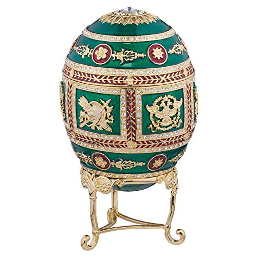 Design Toscano The Emerald Collection Romanov Style Enameled Egg: Redonka, Gold