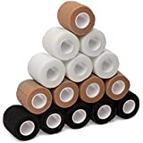 """15-Pack, 2"""" x 5 Yards, Self-Adherent Bandage Tape, Strong Sports Tape for Wrist, Ankle Sprains & Swelling, Self-Adhesive Bandage Rolls, FDA Approved, Black, Nude, White Colors, by California Basics"""