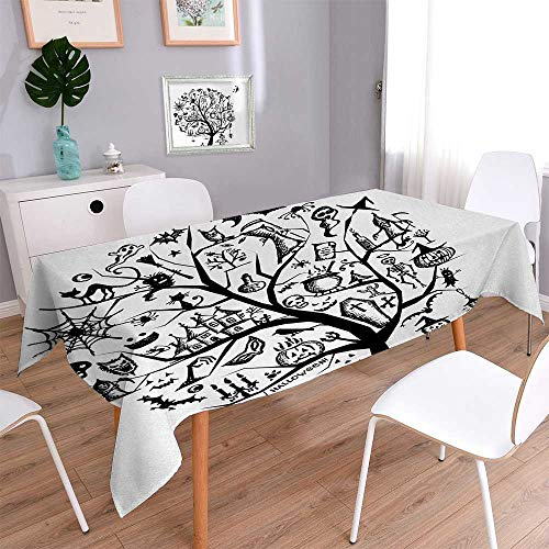 smllmoonDecor Halloween Waterproof Table Cover for Kitchen Sketchy