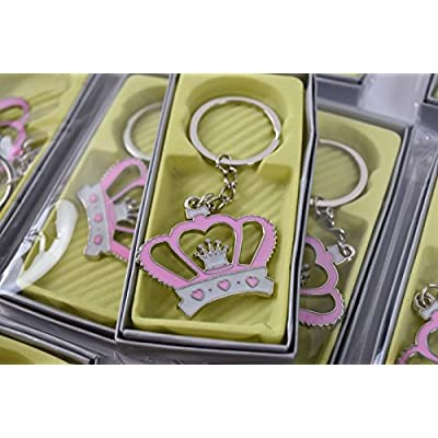 12PC Baby Shower Favors Crown Princess Table Decoration Girl Keychains Pink: Beauty