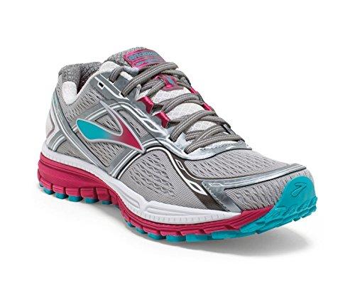 Brooks Womens Ghost 8 Metallic Charcoal/Bright Rose/Bluebird Sneaker 6.5 2A - Narrow (Ghost Sneaker)