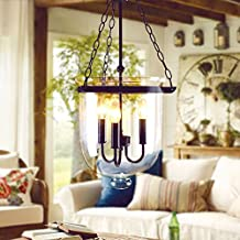JinYuZe Retro Rustic Clear Glass Bell Jar Chain Ceiling Pendant Light with 3 Candle Lights (Small - 250mmDia)