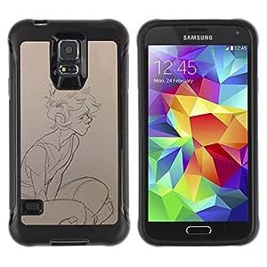 Be-Star único patrón Impacto Shock - Absorción y Anti-Arañazos Funda Carcasa Case Bumper Para SAMSUNG Galaxy S5 V / i9600 / SM-G900F / SM-G900M / SM-G900A / SM-G900T / SM-G900W8 ( Sketch Boy Profile Art Portrait Drawing Pencil )