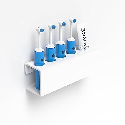 Soporte de pared para cepillo de dientes eléctrico y pasta de dientes, color blanco,