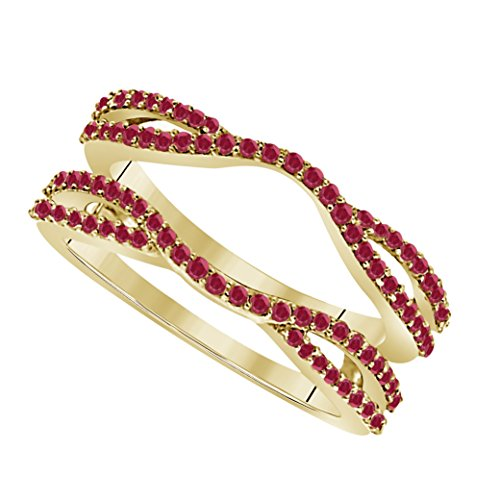 Setting Cathedral Six Solitaire Prong - DreamJewels 0.50 Ctw 14K Yellow Gold Plated Round Cut Lab Created Red Ruby Alloy Ladies Anniversary Wedding Band Enhancer Guard Double Chevron Ring