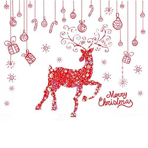Vinilos Decorativos - 2pcs Removable Shop Glass Window Stickers Santa Claus Tree Xmas Decoration Christmas Wall Vinilos - De Ni Nios Kids Espaol Bebe Cactus Airplane Naturaleza Bao