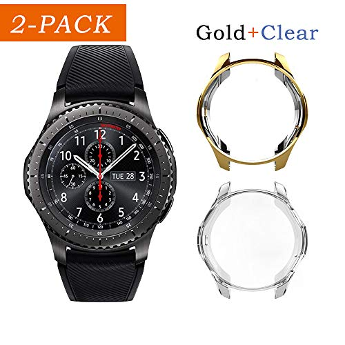 Uborui TPU Scractch-Resist Cover Protective Bumper Shell Protective Band for Samsung Gear S3 Frontier SM-R760 Case/Samsung Galaxy SM-R800 Watch Case 46mm,Gold+Clear