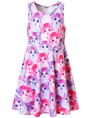 (Sleeveless Cat Dresses Little Girls 6 7 Kids Summer Swing Halloween Clothes)