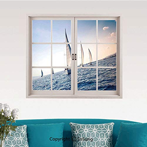 Sailboat Nautical Decor Removable Wall Sticker/Wall Mural,Racing Sailboats in Mediterranean Sea Adventure Winner Sports Freedom Photo Creative Close Window View Wall Decor,24