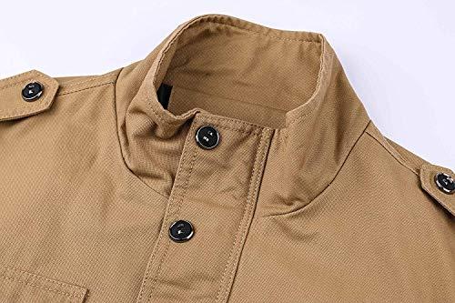 Cotone Classico Lunghe Libero Bomber khaki Da Uomo Stile A Tempo In Giacca Maniche Autunno Coat 1 pqYInzw