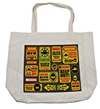 Lunarable Outer Space Shopping Bag, Warning Ufo Signs with Alien Faces Heads Galactic Theme Paranormal Activity Design, Eco-Friendly Reusable Bag for Groceries Beach Travel School & More, Cream