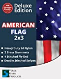 The Best American Flag - US Flag 3 x 5 & 2 x 3 Embroidered Stars - Display as Your Garden Flag - Patio Flag or a Replacement Flag for Your Pole Kit - Indoors - Highest Quality Durable 210D Nylon - Brass Grommets – Four Stitches on End will Not Fray
