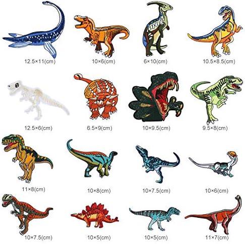 NALER 刺繍アイロンワッペン 恐竜 補修パッチ 刺繍パッチ アップリケ 衣類 浴衣 手袋 DIY 飾り 可愛い 装飾 16枚