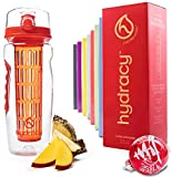 Hydracy Fruit Infuser Water Bottle - 32 oz Sports Bottle - Time Marker, Full Length Infusion Rod & Insulating Sleeve + 27 Fruit Infused Water Recipes eBook Gift - Lava Orange