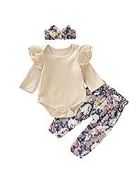 puseky Infant Baby Girls Ruffle Long Sleeve Romper Bowknot Floral PantsHeadband Outfits Set