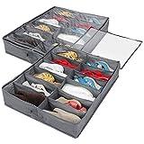 Lifewit 12 Pairs Under Bed Shoe Organizer Closet Storage Solution Organizer Box with Front Zippered Closure, Set of 2, Grey