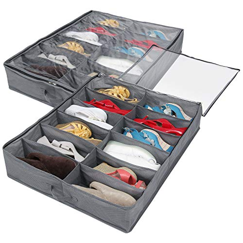 er Bed Shoe Organizer Closet Storage Solution Organizer Box with Front Zippered Closure,with Clear Window, Set of 2, Grey ()