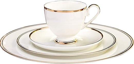 Amazon.com: Juego de 4 vajillas de porcelana simple de ...