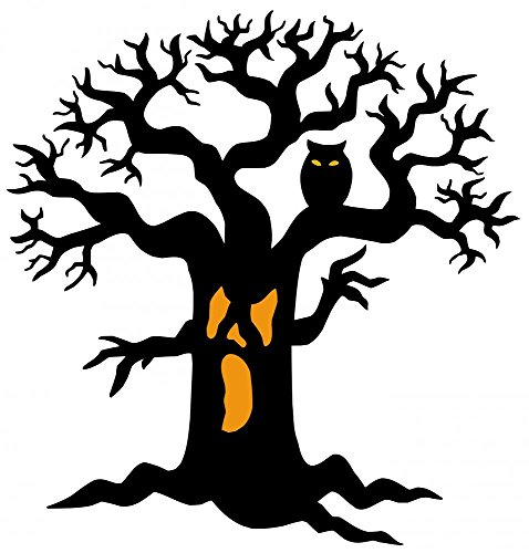 Wallmonkeys Spooky Tree Silhouette Peel and Stick Wall Decals WM298717 (30 in H x 29 in W)