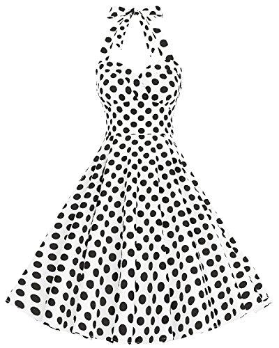 Bbonlinedress Vintage Rockabilly Años 50 Halter Vestidos de Cóctel Floral Retro White Black Big Dot