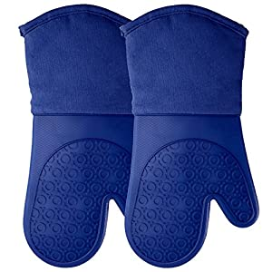 HOMWE Professional Silicone Oven Mitt, Oven Mitts with Quilted Liner, Heat Resistant Pot Holders, Flexible Oven Gloves…