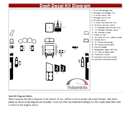 Dash Kit Decal Trim Dodge Challenger 2008 2009 2010 2011 2012 2013 2014 - Carbon Fiber R24 Black