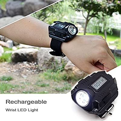 Super Bright Wrist LED Light Rechargeable Waterproof LED Flashlight Watch with Compass, Best for Running Mountain Climbing Camping Survival Hiking Hunting Patrol