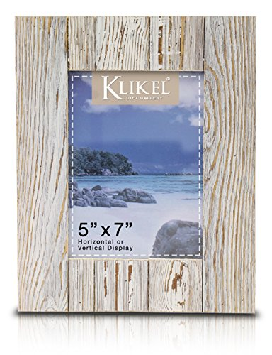 Klikel Distressed Wood 5 X 7 Picture Frame - White Solid Wooden Wall Hanging And Table Standing Photo - Vintage Frame White
