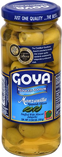 Goya Foods Manzanilla Spanish Olives Stuffed with Minced Reduced Sodium, Jalapeno, 6.75 Ounce (Pack of 24)