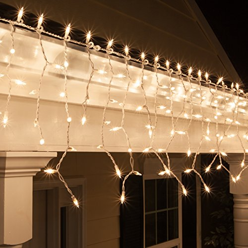 Kringle Traditions 9 ft 150 Clear Icicle Lights with Long Drops - White Wire, Indoor/Outdoor Christmas Lights, Outdoor Holiday Icicle Lights ()