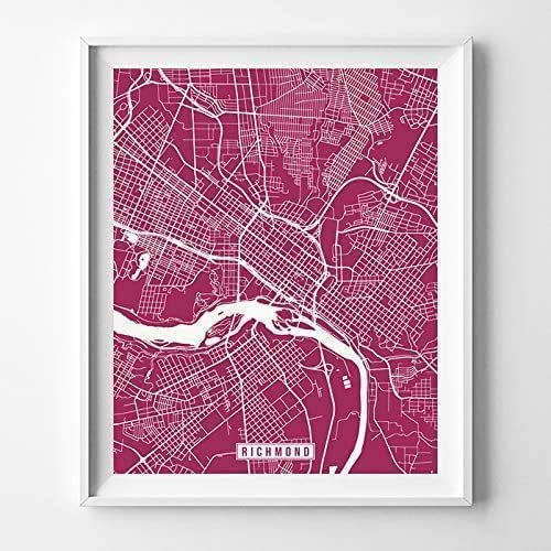 Amazon.com: Richmond Virginia Map Print Street Poster City