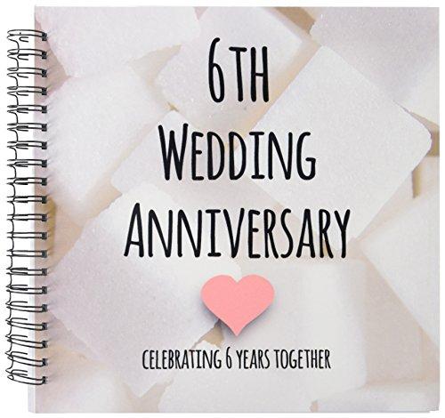 3dRose db_154435_2 6Th Wedding Anniversary Gift Sugar Celebrating 6 Years Together Sixth Anniversaries Six Yrs Memory Book, 12 by 12-Inch
