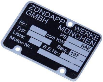 Z/ündapp Motortypenschild 197x blanko Motortypen Schild Typenschild