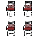 Cheap PHI VILLA Coating Old Craft Patio Swivel Height Bar Stools Armrest Chairs Set of 4-24″ Seat Height