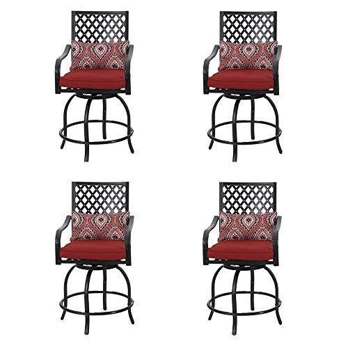 PHI VILLA Coating Old Craft Patio Swivel Height Bar Stools Armrest Chairs Set of 4-24