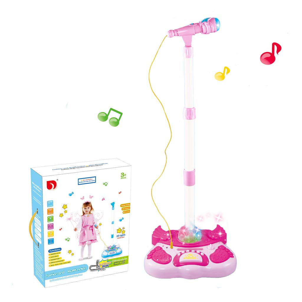 Kidsonor Kids Karaoke Machine with Microphones and Adjustable Stand, AUX Cable Connect to Electronic Devices for Music (Single Mic Pink)
