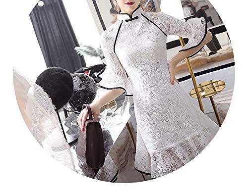 漁師爆発端末チャイナドレスレースフィッシュテール短いドレス,白,XXL